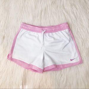 Girls medium white and pink nike shorts
